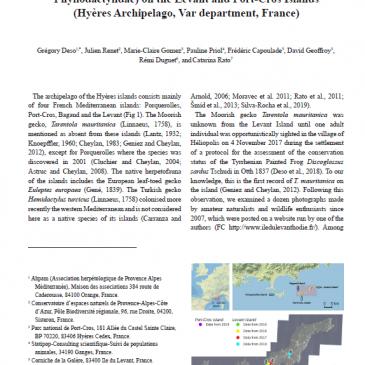 Documenting the introduction of the Moorish gecko Tarentola mauritanica (Linnaeus, 1758) (Squamata: Phyllodactylidae) on the Levant and Port-Cros Islands  (Hyères Archipelago, Var department, France)